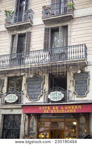 Barcelona,spain-august 31,2015: Facade Building In Las Ramblas, Cafe De L Opera, Opera Cafe, Located