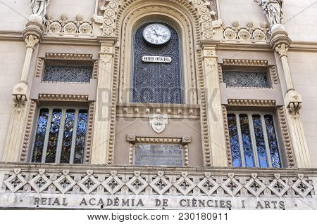 Barcelona,spain-november 27,2015: La Rambla, Facade Building, Reial Academia Ciencies I Arts, Royal