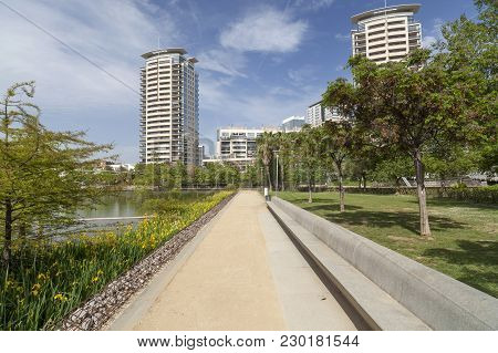 Barcelona,spain-may 5,2015: Modern Buildings In Diagonal Mar Quarter And Park, Parc Diagonal Mar, By