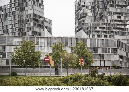 Barcelona,spain-april 22,2016: Modern Building Apartments In Diagonal Mar Quarter, Illa De La Llum,a