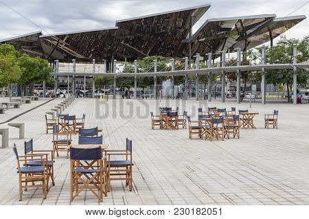 Barcelona,spain-september 4,2015: Urban Space In Gloires Square Close To Building Disenny Hub,rest S