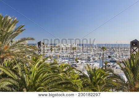 Barcelona,spain-november 24,2015: Marina Of Port Olimpic, Olympic Port Of Barcelona.