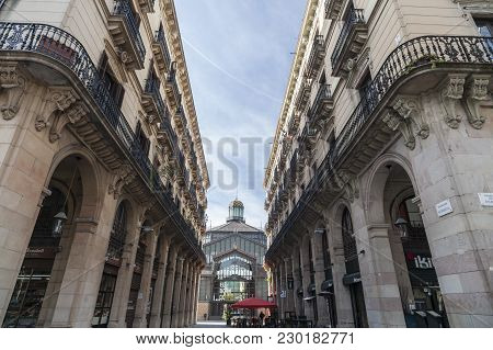 Barcelona,spain-january 29,2015: Classic Architecture Building And El Born Cultural Center,barcelona