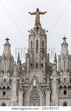 Architecture, Religious Building, Facade Church Of Temple Expiatori Del Sagrat Cor, By Enric Sagnier