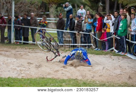 Valencia - December 16: Unidentified Biker Falls Over Sand While Participates In Xxvii Edition Of Cy