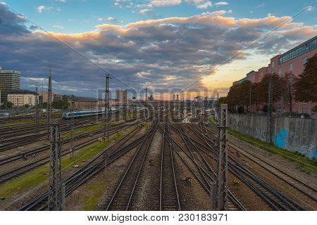 Evening View Over The Central Railway Of Munich On September 27, 2015 In Bavaria, Germany.