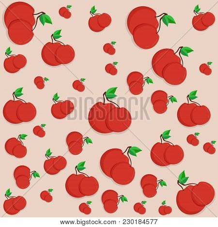 Cute Cherry Seamless Pattern. Good For Textile, Wrapping, Wallpapers, Etc. Sweet Red Ripe Cherries I