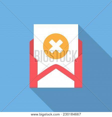 Envelope With Document And Round Orange Cross Icon. Vector Illusrtation.