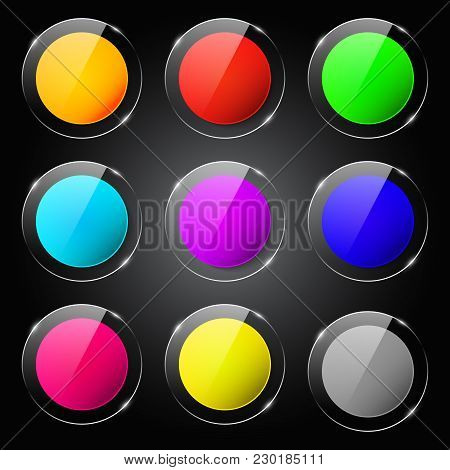 Modern Glossy Colorful Icons With Text Space Vector Blank Set. Glass Soft Color Design Template. For