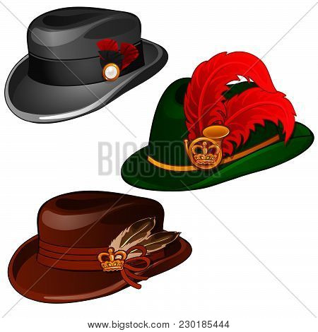Three Hats With Feathers Isolated On White Background. Vector Cartoon Close-up Illustration.