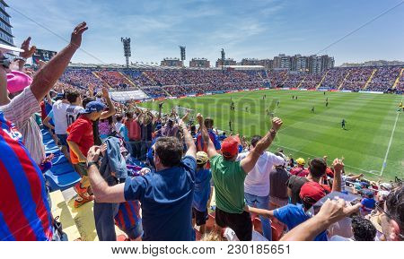 Valencia - May 10: Unidentified Supporters Celebrating Gol On The Stands During Match Between Levant