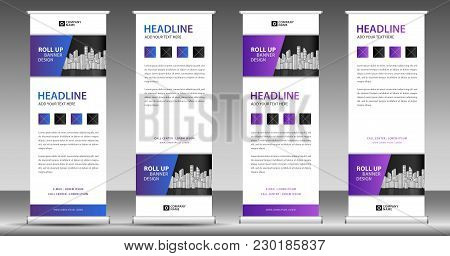 Blue Roll Up Banner Template Stand Design Pull Display Advertisement Business Flyer Poster Presentation Corporate Web Layout Modern