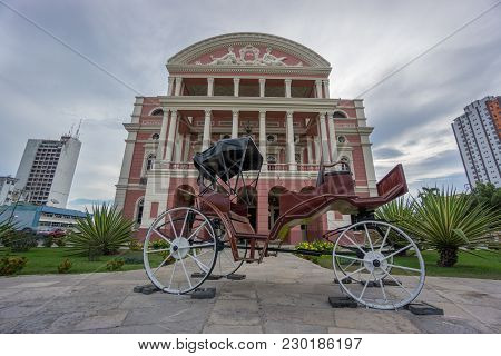 Manaus - Aug 9: Amazonas Theatre Facade On A Cloudy Day On August 9, 2014 In Manaus, Brazil. The Ope