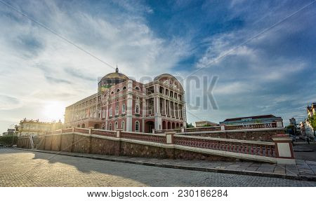 Manaus - Aug 9: Amazonas Theatre Facade At Sunset Day On August 9, 2014 In Manaus, Brazil. The Opera