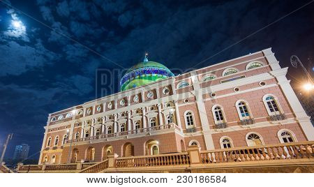 Manaus - Aug 9: Amazonas Theatre Side View By Night On August 9, 2014 In Manaus, Brazil. The Opera H