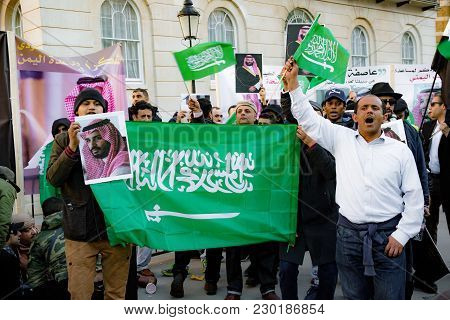 Downing Street, London, United Kingdom, 07th March 2018:- Pro Saudi Arabia Protesters Counter Protes