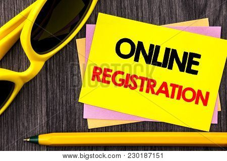 Conceptual Hand Text Showing Online Registration. Business Photo Showcasing Register Web Subscriptio