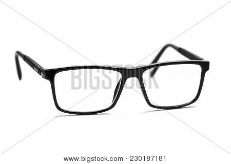 Glasses Isolated On White With Clipping Path. Black Eye Goggles Isolated Background