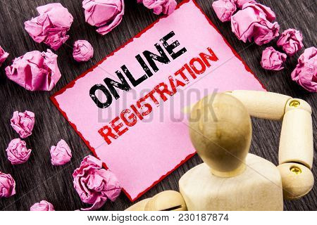 Conceptual Hand Text Showing Online Registration. Concept Meaning Register Web Subscription Subscrib