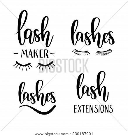 Vector Lashes Lettering Beauty Salon Lash Maker Extensions Calligraphy Designs
