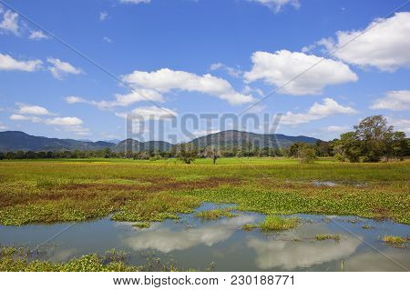 A Sri Lankan Lake With A Backdrop Of Scenic Mountains And Forest Under A Blue Sky With White Fluffy