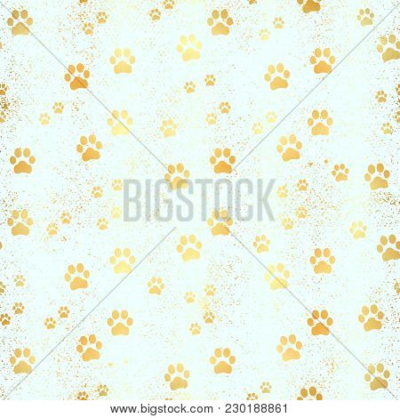 Gold Paw Print Seamless Pattern. Seamless Pattern Of Animal Gold Footprints. Dog Paw Print Seamless