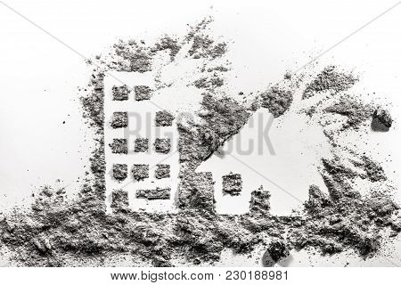 Building And House Under Bombing Silhouette Drawing Made In Ash Or Dust As War Crime, Terrorism, Dem