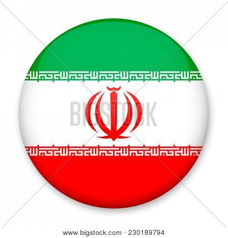 Flag of Iran in the form of a round button with a light glare and a shadow.