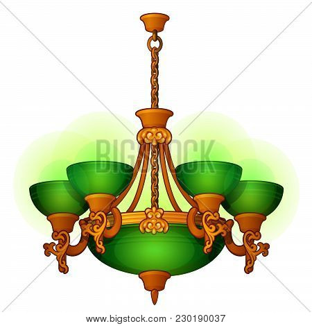 Vintage Chandelier With Green Shades Isolated On White Background. Vector Cartoon Close-up Illustrat