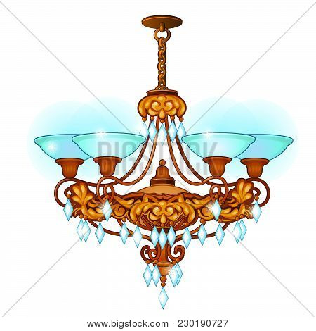 Chandelier For Living Room In Retro Style Isolated On White Background. Vector Cartoon Close-up Illu