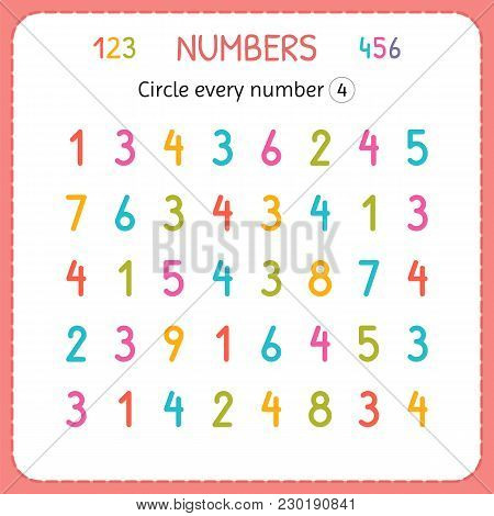 Circle Every Number Four. Numbers For Kids. Worksheet For Kindergarten And Preschool. Training To Wr