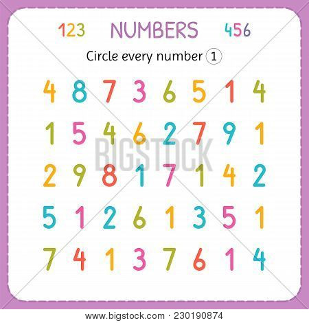 Circle Every Number One. Numbers For Kids. Worksheet For Kindergarten And Preschool. Training To Wri