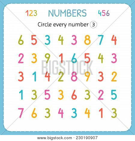 Circle Every Number Three. Numbers For Kids. Worksheet For Kindergarten And Preschool. Training To W