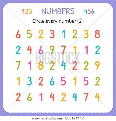 Circle Every Number Two. Numbers For Kids. Worksheet For Kindergarten And Preschool. Training To Wri