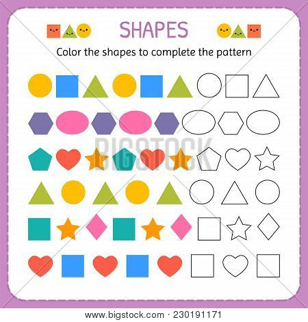 Color The Shapes To Complete The Pattern. Learn Shapes And Geometric Figures. Preschool Or Kindergar