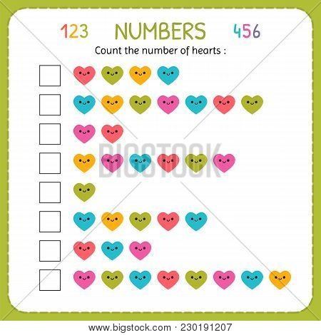 Count The Number Of Hearts. Worksheet For Kindergarten And Preschool. Training To Write And Count Nu