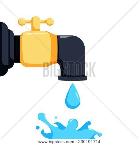 Flat Icon Of A Tap Dripping Water. Dripping Water From The Tap Illustration. Vector Aqua Splash. Eco