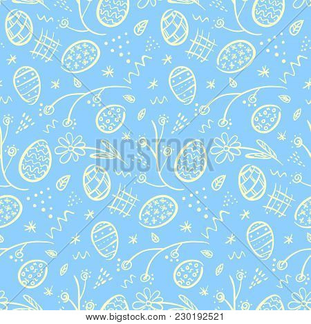 Cute Doodle Blue Happy Easter Seamless Pattern With White Outline Eggs, Flowers, Lines And Dots. Ten