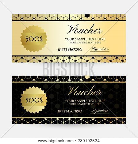 Gold Hexagons. Gift Vouchers Template Collection. Vector Decorative Horizontal  Flayers