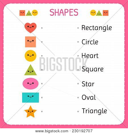 Draw A Line Connecting Each Figure To Its Description. Learn Shapes And Geometric Figures. Preschool