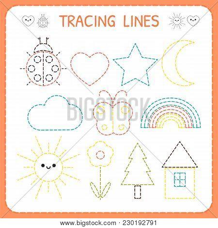 Kindergartens Educational Game For Kids. Preschool Tracing Worksheet For Practicing Motor Skills. Da