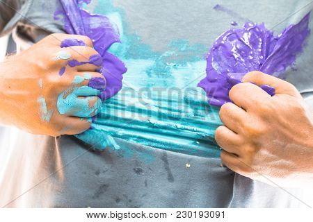 Shirt And Hand Dirty With Paint In A Dramatic Superhero Pose As Creative Artistic Hero, Painter, Dec