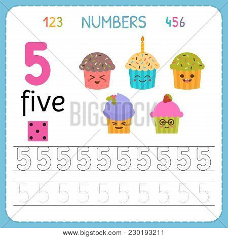 Numbers Tracing Worksheet For Preschool And Kindergarten. Writing Number Five. Exercises For Kids. M