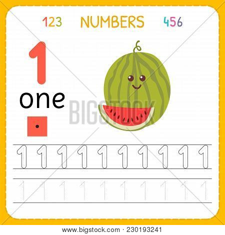Numbers Tracing Worksheet For Preschool And Kindergarten. Writing Number One. Exercises For Kids. Ma
