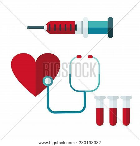Blood Donation. Vector Illustration Of Donate Blood Concept For World Blood Donor Day-june 14.