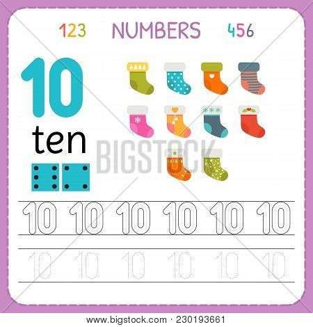 Numbers Tracing Worksheet For Preschool And Kindergarten. Writing Number Ten. Exercises For Kids. Ma