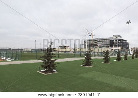 Evpatoria, Crimea, Russia - February 28, 2018: View Of The Arena-crimea Sports Complex In Evpatoria,