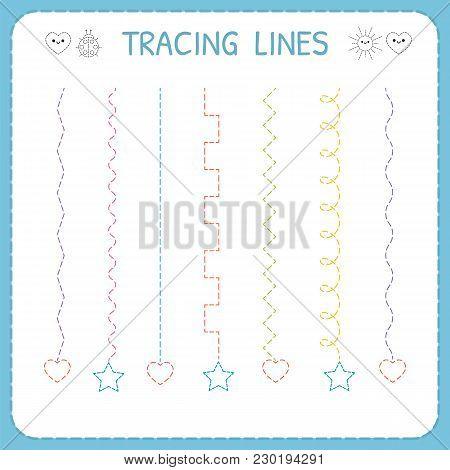 Trace Line Worksheet For Kids. Working Pages For Children. Preschool Or Kindergarten Worksheet. Basi