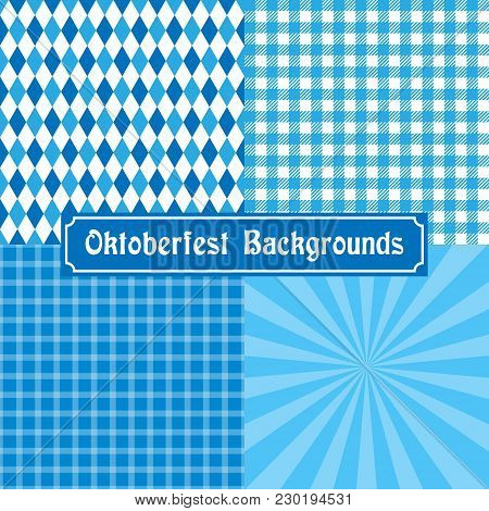 Oktoberfest Background Collection. Tablecloth, Checked, Diamond And Rays.