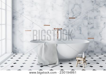 Luxury Panoramic Bathroom Interior Idea. A Tiled Black And White Floor, A Large Window And A White B